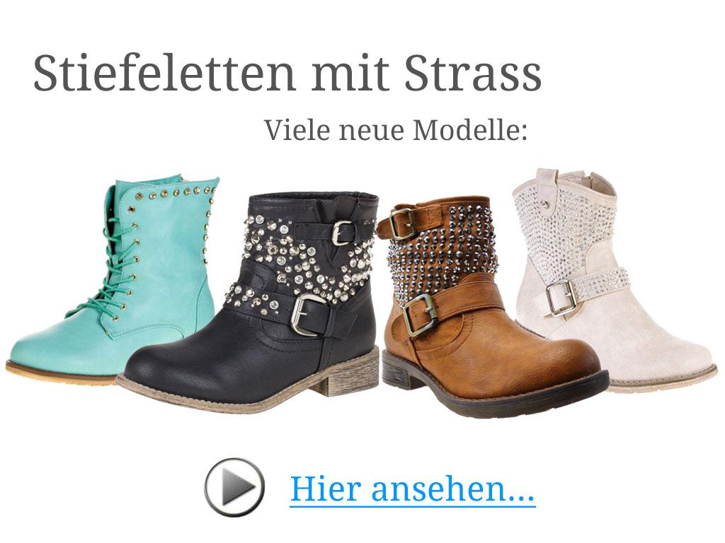 Stiefeletten mit Strass: Viele neue Modelle mit Strasssteinen